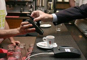 A mobile phone is used to make a payment