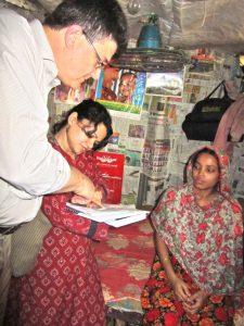 Dr Peter von Dadelszen in a birthing hut in Bangladesh