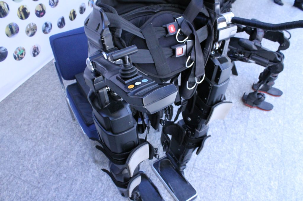 Able Bionics is a gait neurorehabilitation company operating in London, Ontario and Aspen, Colorado and specializing in exoskeleton therapy, training, sales, and protocol licensing. This is a close-up of the Ekso Bionics exoskeleton.