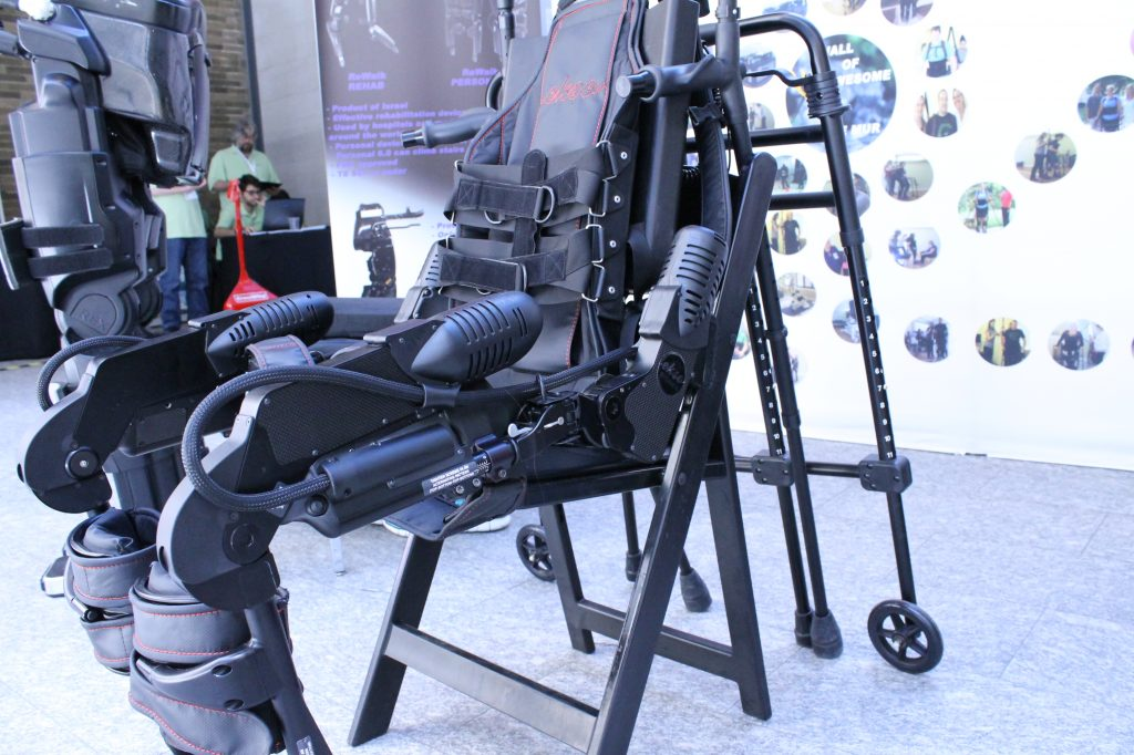 Able Bionics is a gait neurorehabilitation company operating in London, Ontario and Aspen, Colorado and specializing in exoskeleton therapy, training, sales, and protocol licensing. This is the Ekso Bionics exoskeleton.