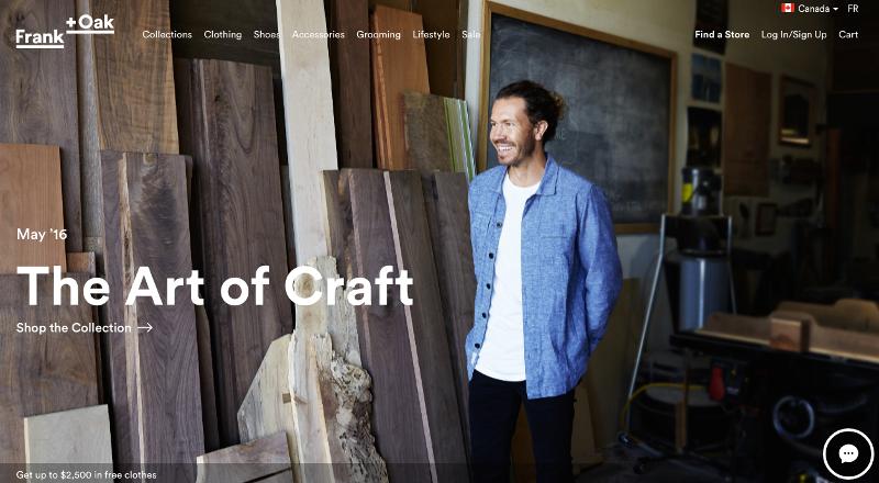 new Frank & Oak website