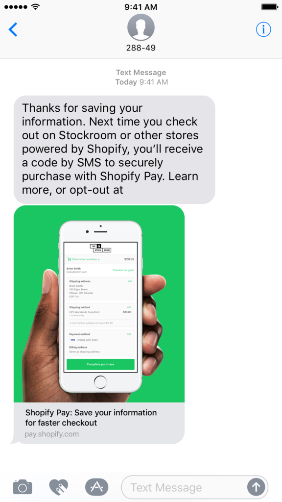 Shopify Pay SMS