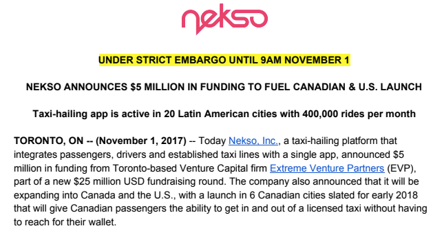 Nekso press release