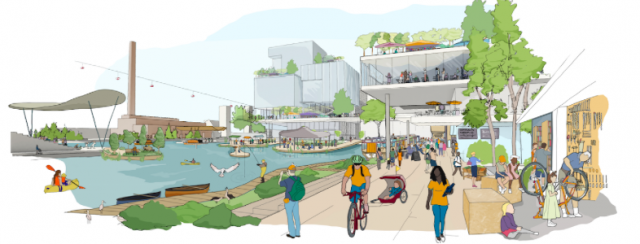 A rendering of Sidewalk Labs' Quayside neighborhood in Toronto