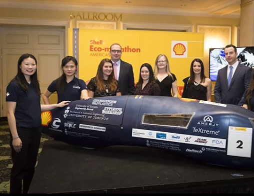 Reigning Shell Eco-marathon champs, UofTs Carbon-Cutting Racers show off vehicle.