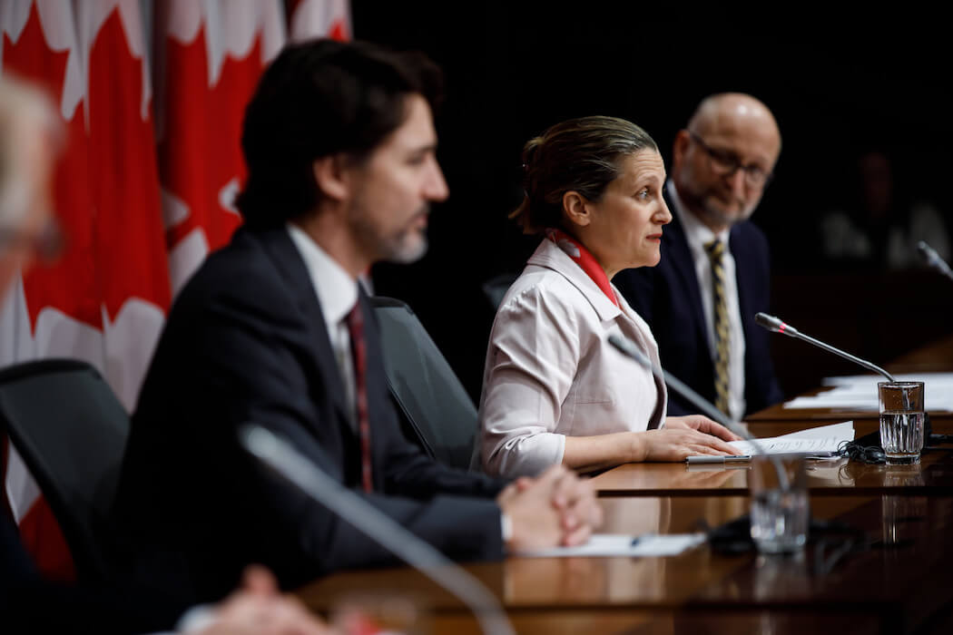 Justin Trudea and Deputy Prime Minister Chrystia Freeland