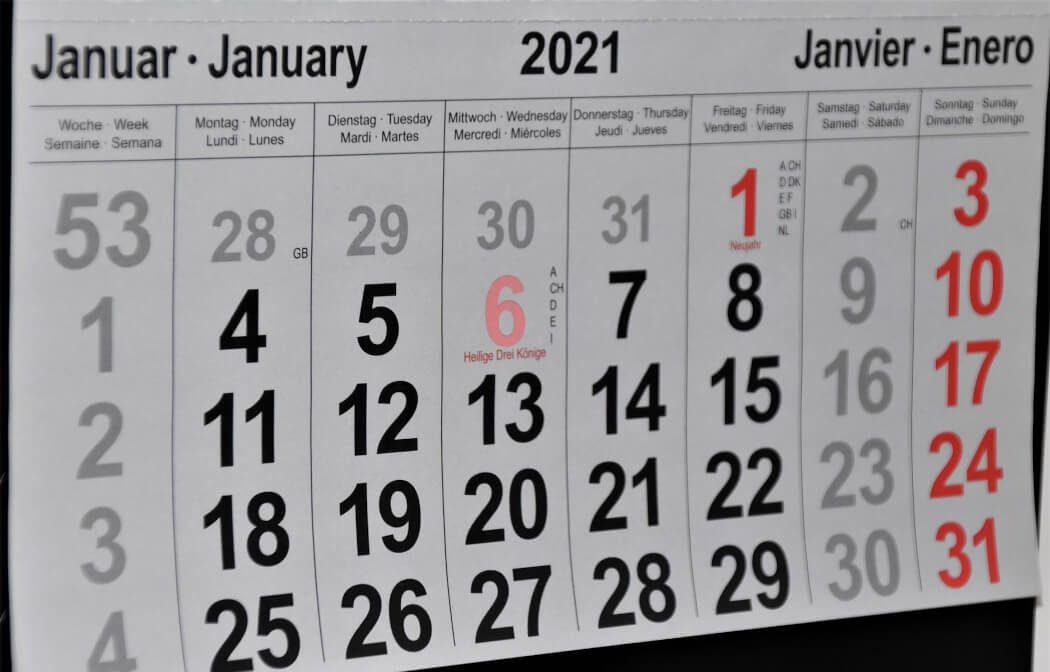 2021 calendar (January)