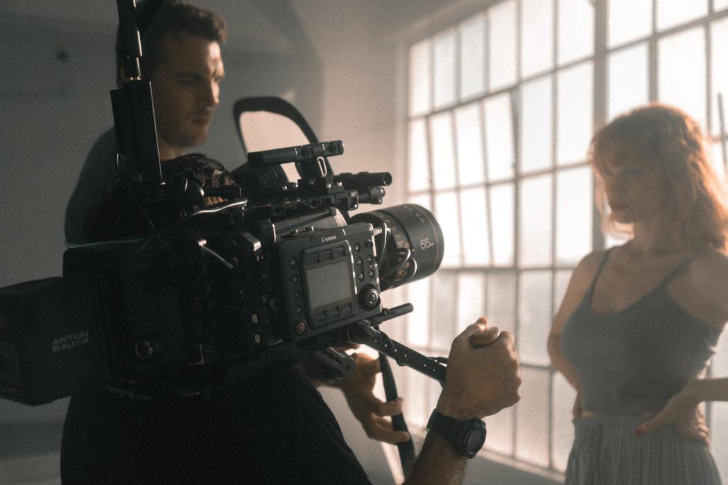 Film shoot behind the camera