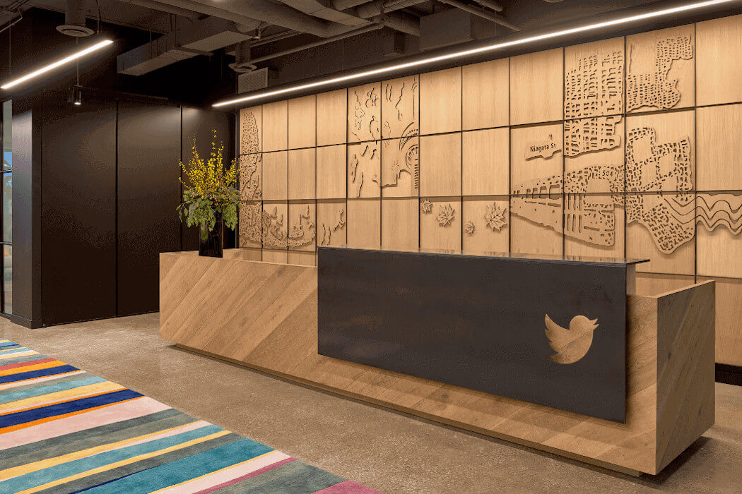 The front desk at Twitter Canada's Toronto office