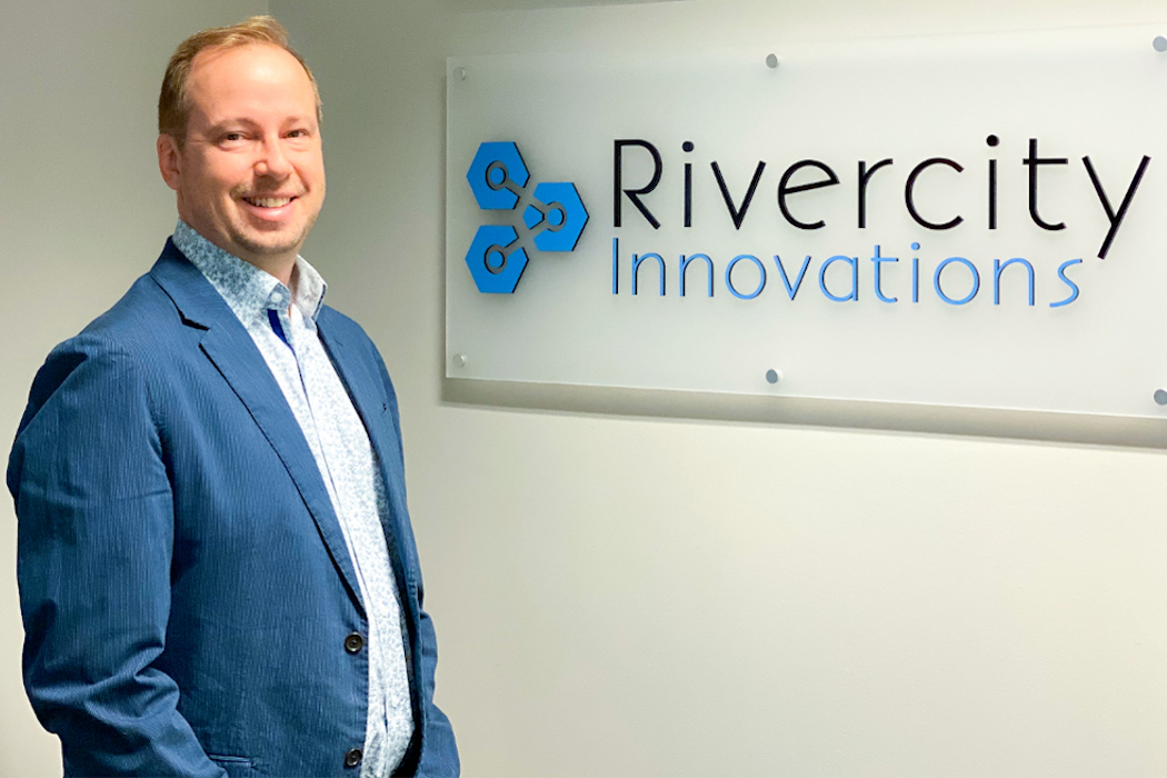 Jeff Shirley, co-founder and CEO, smiling at Rivercity Innovation's office