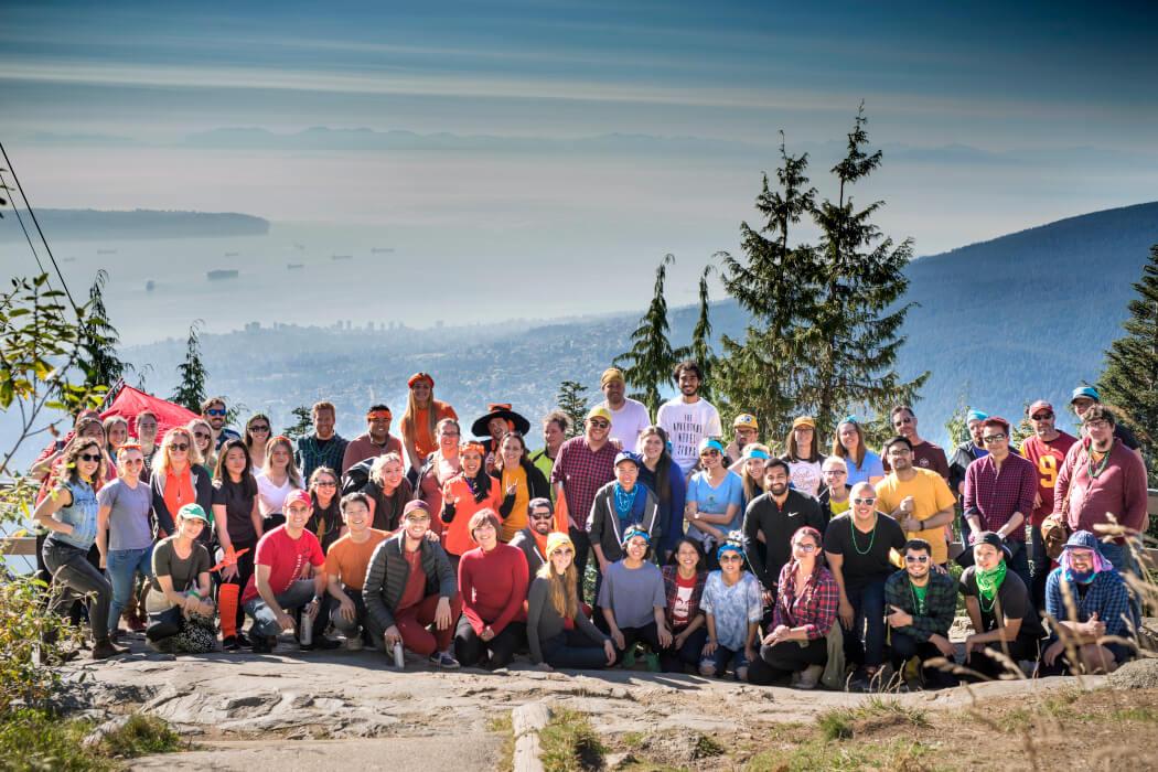 Thinkific team group photo on a mountain
