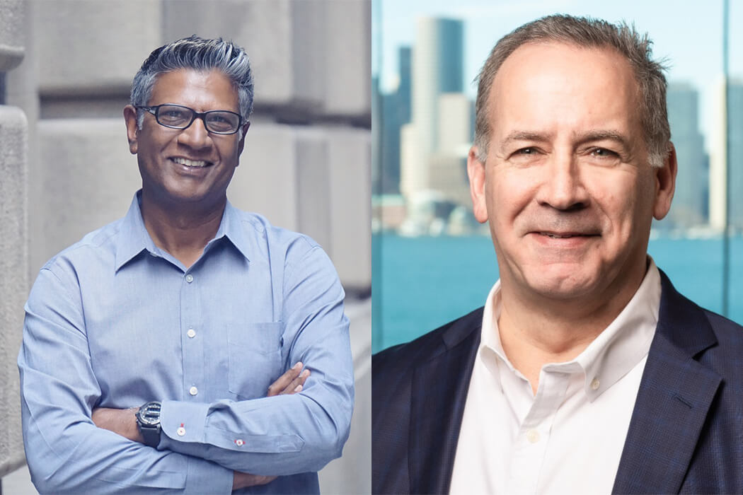 Headshots of Fluence Technology chair Don Mal and new CEO Michael Morrison