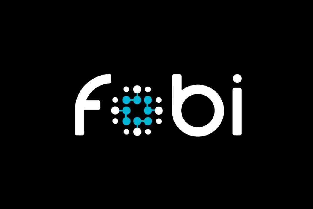 """In a black background, there's white text that reads """"fobi"""" in all lowercase letters."""