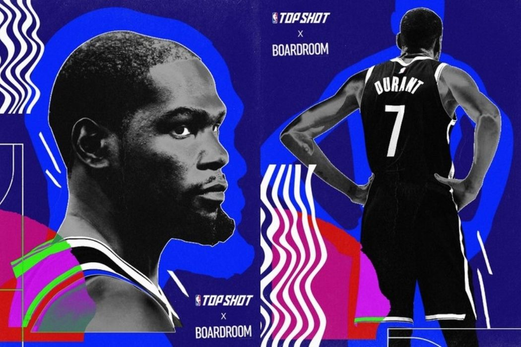 Two NBA Top Shot cards of Kevin Durant with a dark blue background