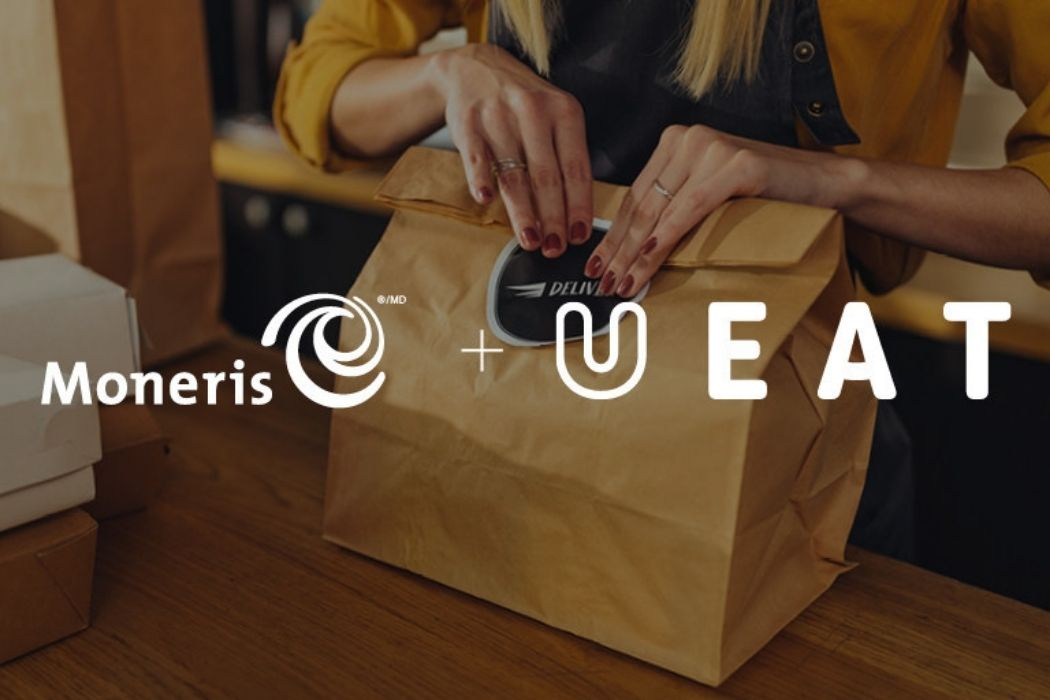 Someone folding the top part of a paper bag. The entire photo has white text on top that says Moneris plus UEAT.
